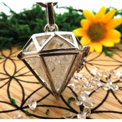 Herkimer Diamond Gemstone Geometic Pendant