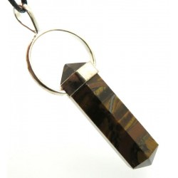 Tigers Eye Double Terminated Faceted Point Pendant
