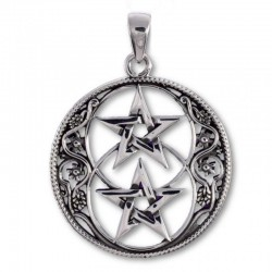 Chalice Well Double Pentagram Sterling Silver Pendant