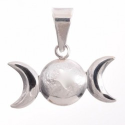 Small Triple Moon Sterling Silver Pendant