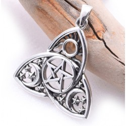 Triquetra Moon Phase Sterling Silver Pendant