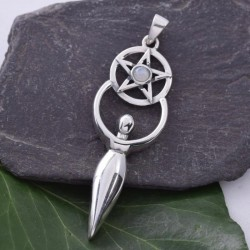 Pentacle Goddess with Rainbow Moonstone Sterling Silver Pendant