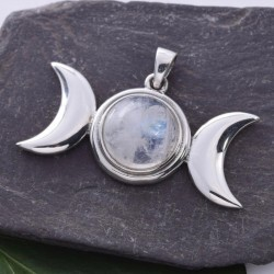 Triple Moon with Rainbow Moonstone Sterling Silver Pendant