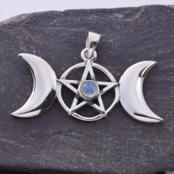 Triple Moon and Pentacle with Rainbow Moonstone Sterling Silver Pendant