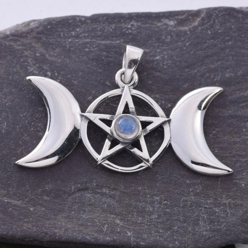 925 Sterling Silver Amber Pentagram Pendant Pagan Chakra Wicca SOOTHING /& CALM