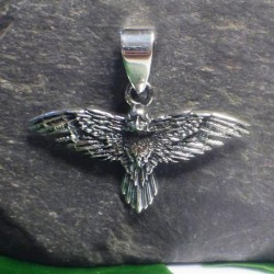 Raven in Flight Sterling Silver Pendant