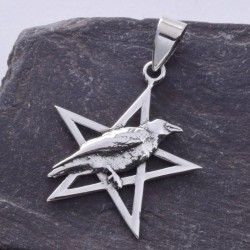 Raven on Pentagram Sterling Silver Pendant