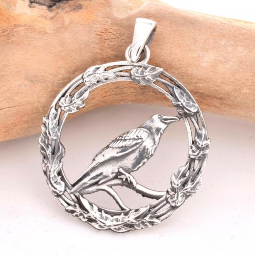 Raven on Wreath Sterling Silver Pendant