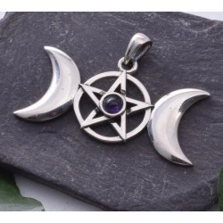Triple Moon and Pentacle with Amethyst Sterling Silver Pendant