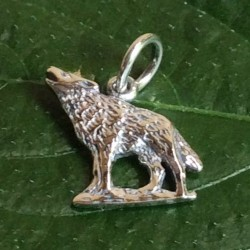 Small Howling Wolf Sterling Silver Pendant