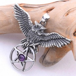 Flying Owl Pentacle with Amethyst Sterling Silver Pendant