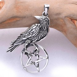 Raven Perched on Pentacle Sterling Silver Pendant