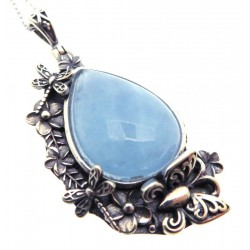 Aquamarine Sterling Silver Pendant with Chain 02