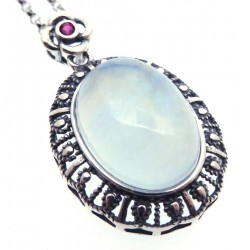 Aquamarine and Garnet Sterling Silver Pendant with Chain 05