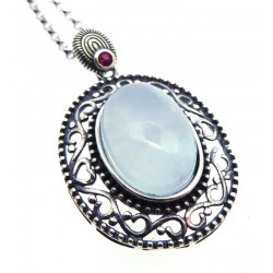 Aquamarine and Garnet Sterling Silver Pendant with Chain 06