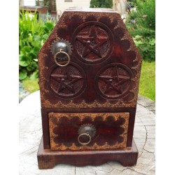 Wooden Rustic Pentacle Altar Cupboard