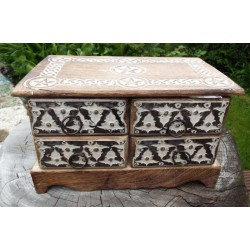 Wooden Rectangular Four Drawer Pentacle Altar Cupboard