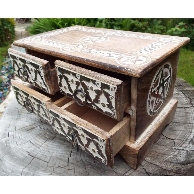 Wooden Rectangular Four Drawer Pentagram Altar Cupboard