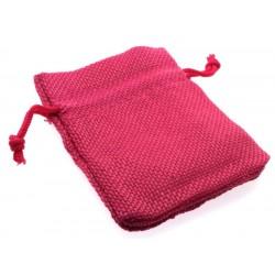 Burlap Drawstring Pouch Pink