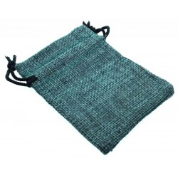 Burlap Drawstring Pouch Teal
