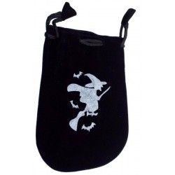 Black Velveteen Witch Drawstring Pouch