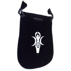 Black Velveteen Earth Goddess Drawstring Pouch