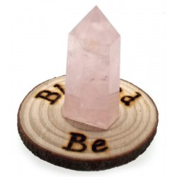 Oak Wooden Blessed Be Altar Tile with Rose Quartz Point