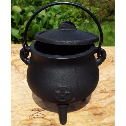 Mini Round Cast Iron Cauldron with Lid