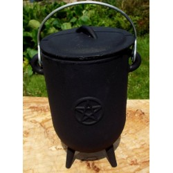Tall Cast Iron Cauldron with Lid