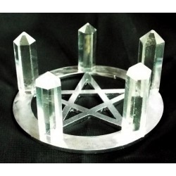 Metal Crystal Healing Grid with Five Quartz Points