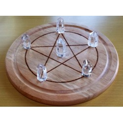 Large Wooden Crystal Healing Grid with Six Quartz Points