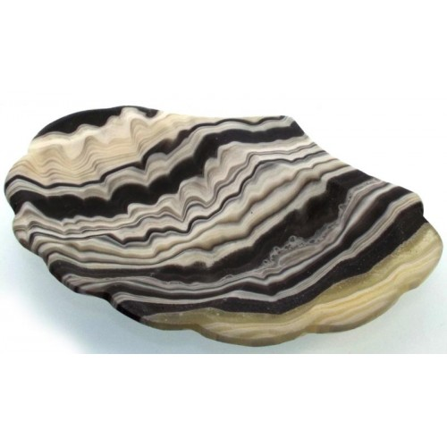 Mexican Onyx Scalloped Altar Dish 06