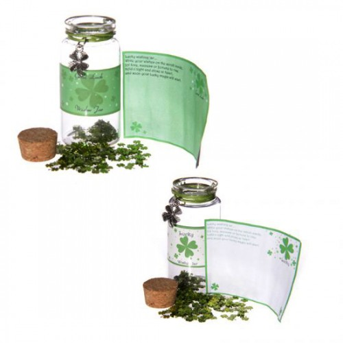 Lucky Shamrock Wishes Spell Jar with Clover Trinket