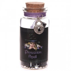 Witchy Protection Spell Jar with Padlock Trinket