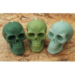 Skull Shaped Candle set of 3 Green 03