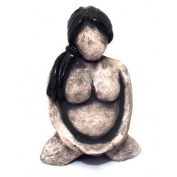 Ceramic Small Mother Earth Goddess Grey 09