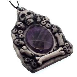 Ceramic Skull with Amethyst Wall Art 49