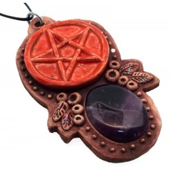 Ceramic Pentacle with Amethyst Wall Art 51