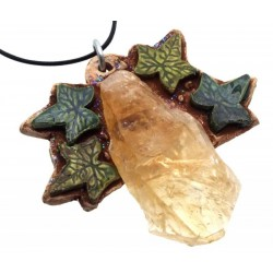 Ceramic Leaves with Citrine Wall Art 56