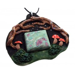 Ceramic Faerie Toadstool with Ruby Fuchsite Wall Art 57