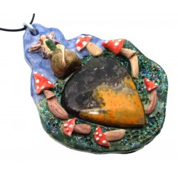 Ceramic Faerie Toadstool with Bumble Bee Jasper Wall Art 58