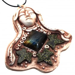 Ceramic Goddess with Labradorite Wall Art 02