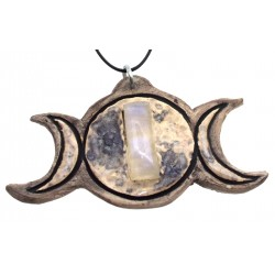 Ceramic Triple Moon with Rainbow Moonstone Wall Art 06
