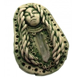 Ceramic Goddess with Quartz Point Wall Art 09