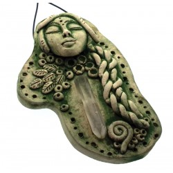 Ceramic Goddess with Quartz Point Wall Art 11