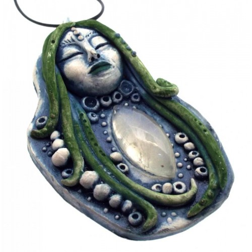 Ceramic Goddess with Rainbow Moonstone Wall Art 26