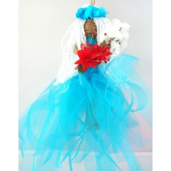 Hand Crafted Hanging Aqua Flower Maiden Doll