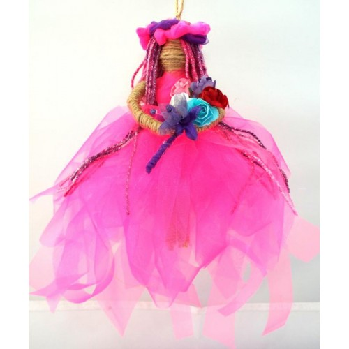 Hand Crafted Hanging Pink Flower Princess Doll