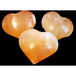 Orange Selenite Gemstone Carved Puff Heart