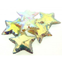 Hand Knapped Aura Quartz Gemstone Star